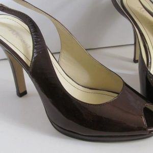 Brown Patent Leather  Open Toe Shoes Anne Klein